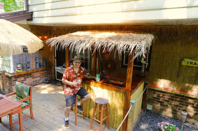 Exterior Thatched Tiki Bar Hut At Kapu Lounge Garden In Brookfield Wi